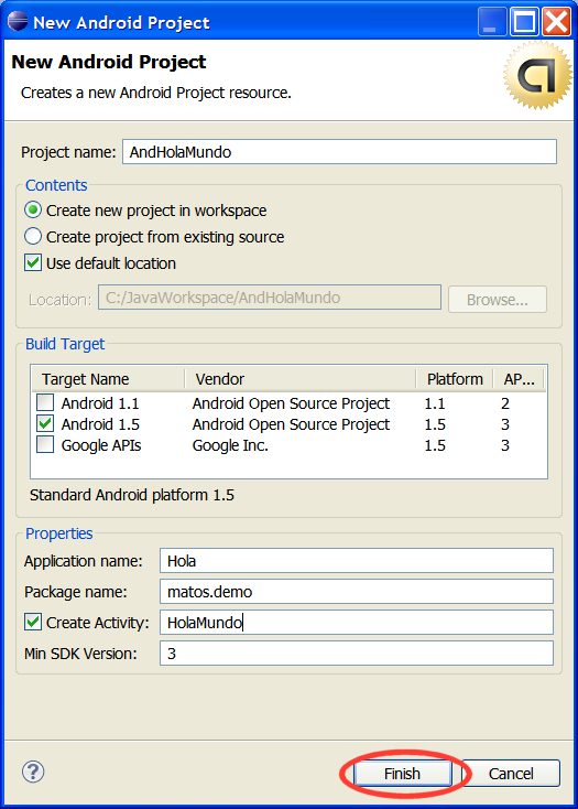 Creating an Android Project To create a new project: 1. Start Eclipse 2. Select File > New > Project. 3. Select Android > Android Project, and click Next. 4.