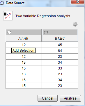 Activity 14: Two Variable Regression Analysis Tool to draw a Scatter plot and Line of Best Fit 1. Input one set of the data in column A and the other set of the data in column B. 2.