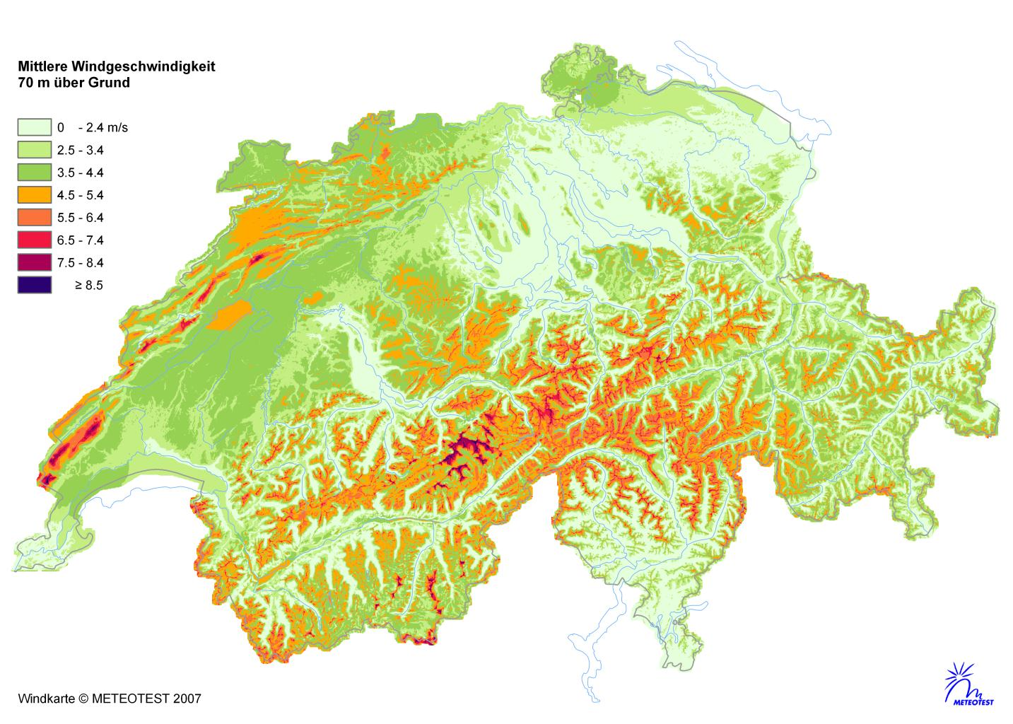 Icing in Switzerland Wind map of Switzerland Currently installed: 40 MW Potential: