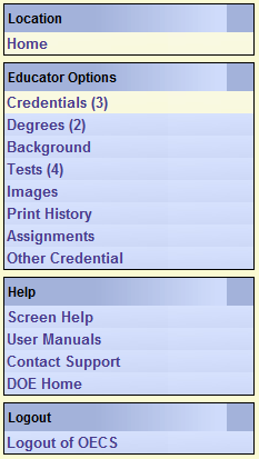 Updating Information In the Credentials view at the top of the screen in the three boxes is your primary information.