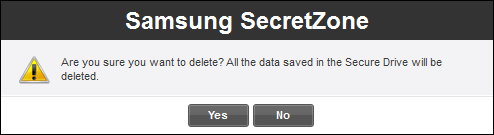 Chapter 3 Functions of Samsung Drive Manager [Image] Secure Drive Deletion Confirmation Message 3. After checking the data to be deleted, 4. Click [OK].