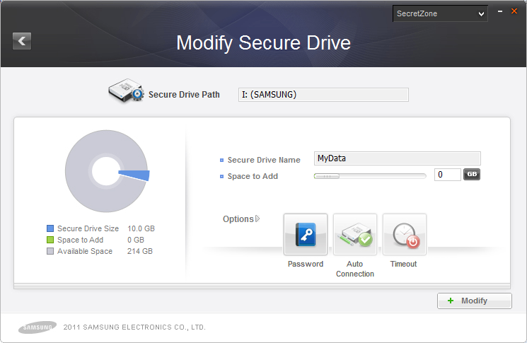 Chapter 3 Functions of Samsung Drive Manager Drive, set the options and Secure Drive size to change. [Image] Set Secure Drive Screen To change the password: 5. Click [Password].