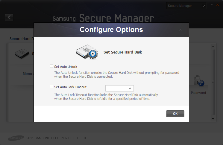 Chapter 3 Functions of Samsung Drive Manager [Image] Settings Screen [[Set Auto Unlock]] Auto Unlock automatically unlocks your secure hard disk when connected without password confirmation.