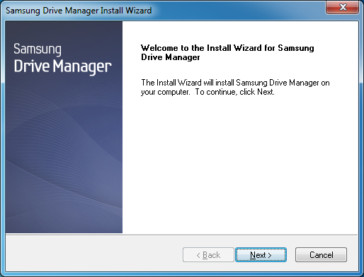 Chapter 1 Starting to Use Samsung Drive Manager Installation The Installation Wizard screen is displayed after a language is