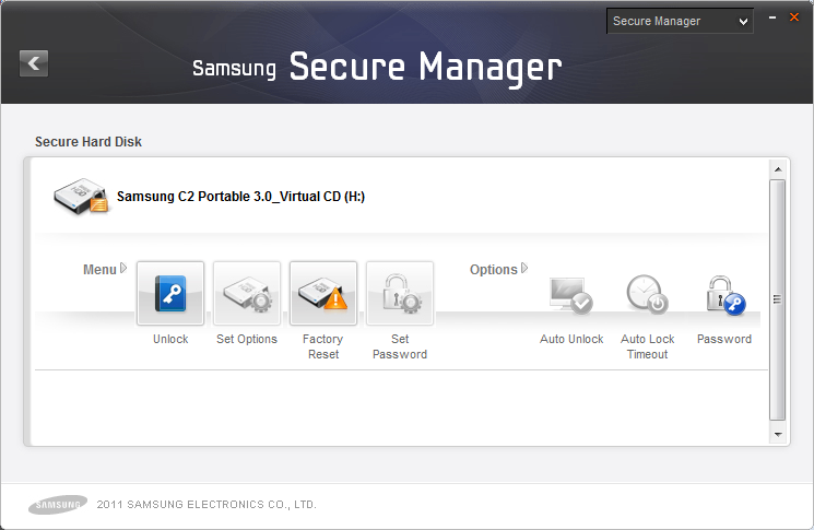 Chapter 2 Using Samsung Drive Manager unlock the secure hard disk and view the hidden data. On the Samsung Secure Manager screen: 1. Click [Unlock] on the menu.
