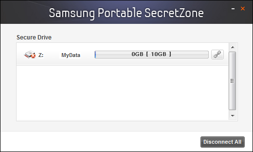 Chapter 2 Using Samsung Drive Manager [Image] Samsung Portable SecretZone Connection Screen Disconnection On the Samsung Portable