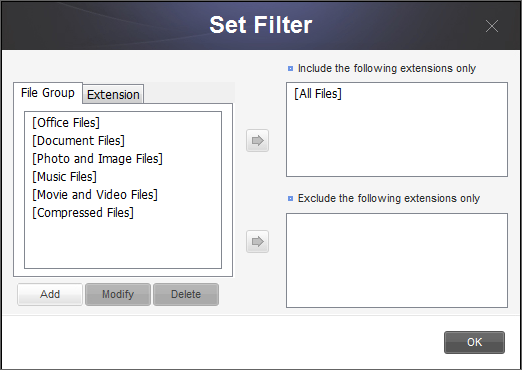 Chapter 3 Functions of Samsung Drive Manager Set Filter Of selected files or folders, file types to restore or exclude from restoration can be set. By default, all file types will be applied.
