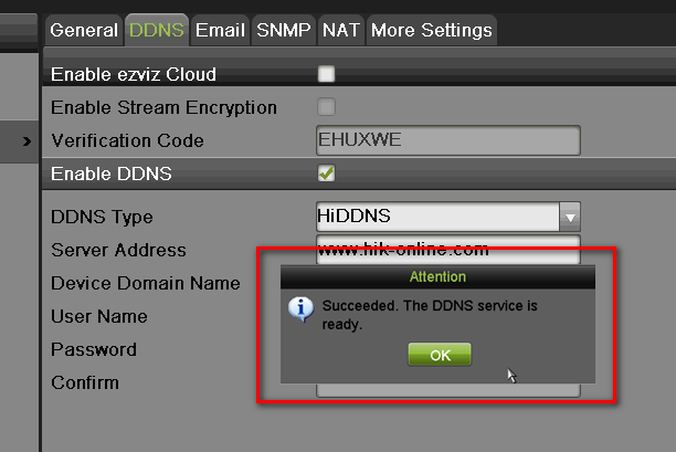 SETTING UP NETWORK ACCESS Enable DDNS and create a DOMAIN NAME EZVIZ is used for a connection through a secure server.