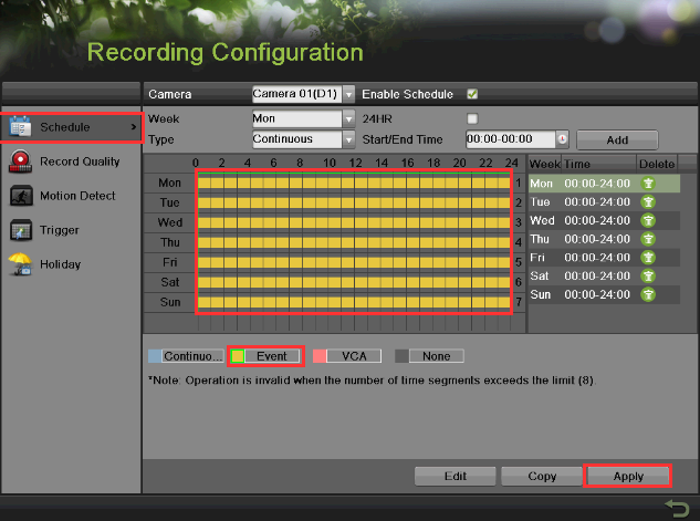 SETTING UP RECORDING To set the NVR to MOTION RECORDING, go to: 1. MENU > RECORDING CONFIGURATION 2. Click on the EVENT under the calendar (yellow). After this the mouse cursor will change to a WAND.