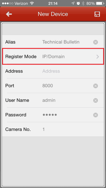 CONFIGURING THE MOBILE APP MENU BUTTON DEVICES BUTTON ADD BUTTON ENTER THE INFO REGISTER MODE