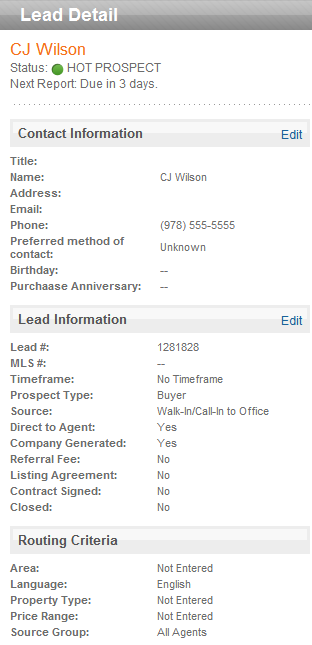 To view the lead details, you must click the name of the client.