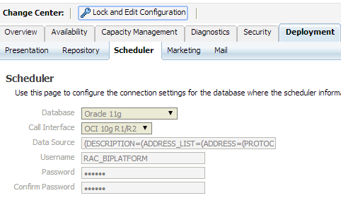 13 SCHEDULER CONNECTION SETTINGS IN ENTERPRISE MANAGER: 1. Go to > EM> Business Application> Core application > Deployment > Scheduler >Lock & Edit Configuration 2.