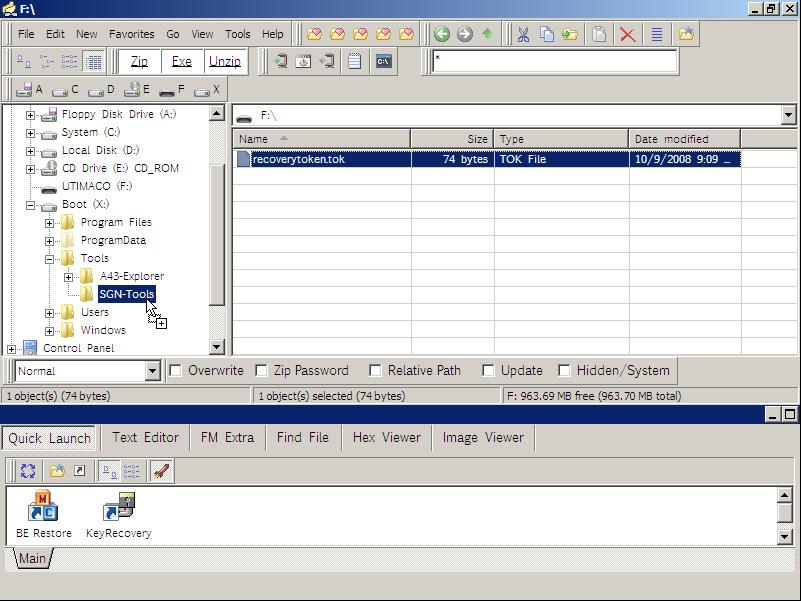 SafeGuard Enterprise 27.6.3 Import the Virtual Client into the KeyRecovery Tool Prerequisite: The computer has been booted from the recovery disk.