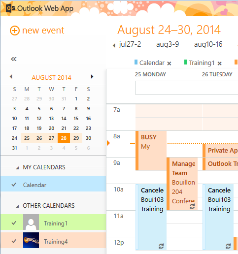 Share a Calendar From the Calendar view, click SHARE (see below snapshot) Options for Calendar Details are below.