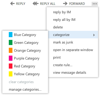 Viewing the default categories By default, there are several generic, color-named categories. To view them, do this: 1. While in an open message, click on the extended menu icon 2.