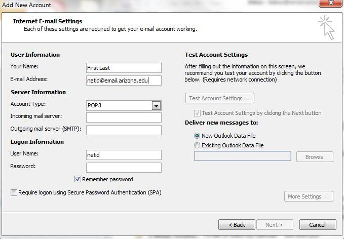 The Internet E-mail Settings window will appear with the Your Name,