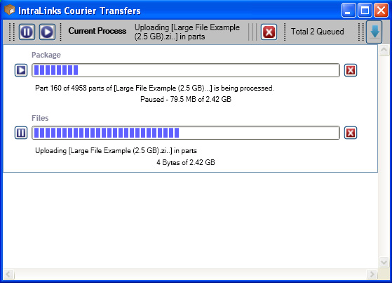 Figure 7: Courier Transfers Screen 2. Identify the package you want to pause and click the Pause button to the left of the transfer progress bar. The transfer pauses.