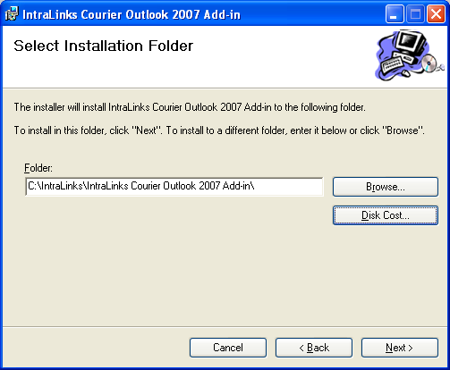 Figure 2: Review and accept the license agreement 4. On the next screen, you will select the location where the IntraLinks Courier add-in software will be installed.
