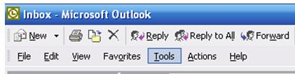 Outlook 2003 Open Outlook 2003 From the Menu Bar Click on