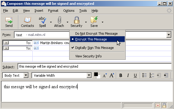Receiving signed and encrypted email Figure 30: Thunderbird signed and encrypted email A signed and encrypted email in Thunderbird looks as follows: signed and shows that the message has been
