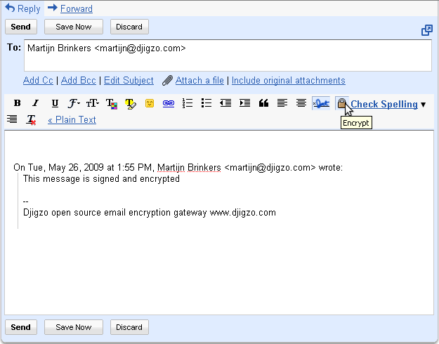 The current version of Gmail add in does not verify digital signatures.