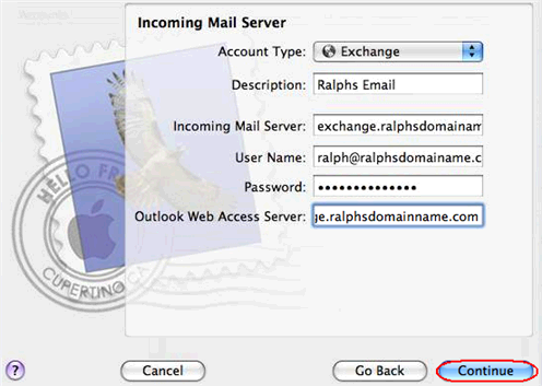 Click Continue when you are done. Step 6 Enter the following information on the Outgoing Mail Server screen: Outgoing Mail Server: Enter smtp.yourdomain.com (replacing yourdomain.