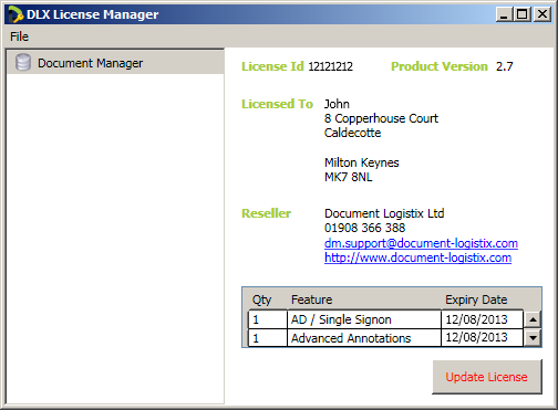 Activating the Document Manager License Upgrading to Document Manager 2.