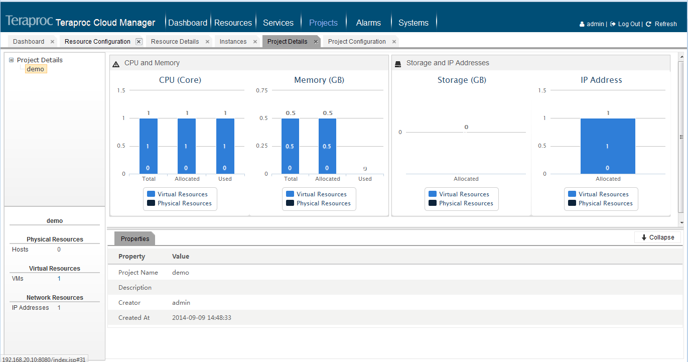 Project Reports Service resource usage reports can be generated by users or by services in a specified time period. The information helps administrators optimize resource capacity planning.