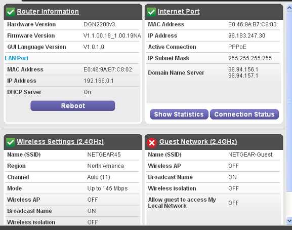 View Router Status To view modem router status and usage information: Select Advanced Home or select Administration > Router Status to display the following screen: Scroll to view more settings