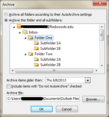 3. Select Archive from the Cleanup Tools drop-down menu. 4. In the Archive dialog box, select Archive this folder and all subfolders, and highlight the folder you want to archive.