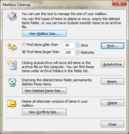 13. To check the size of your mailbox, click on Cleanup Tools and select Mailbox Cleanup. 14.