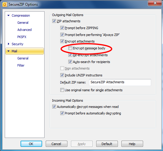 7. How to set options to encrypt the message body in Microsoft Outlook Click