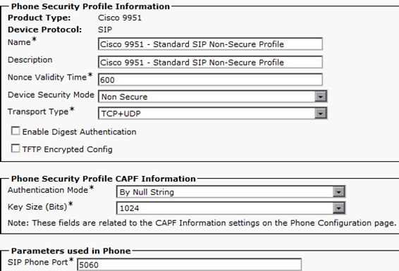 Device Security Modes: Non Secure Authenticated Encrypted Transport Types in Non Secure Mode: TCP UDP TCP+UDP Transport Types in Secure Mode: TLS To enable Digest Authentication, check this box.