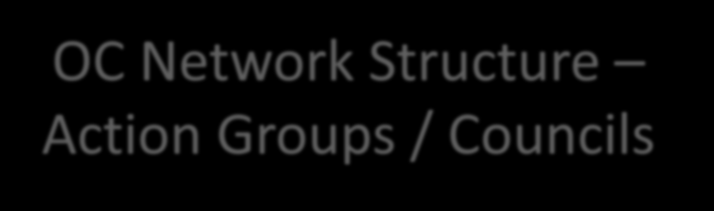 OC Network Structure Action Groups / Councils Education