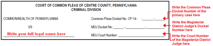 Page Four: Under COMMONWEALTH OF PENNSYLVANIA VS, write your full legal name. In the spaces to the right of Common Pleas Docket No., write the Common Pleas Docket Number of the primary case.