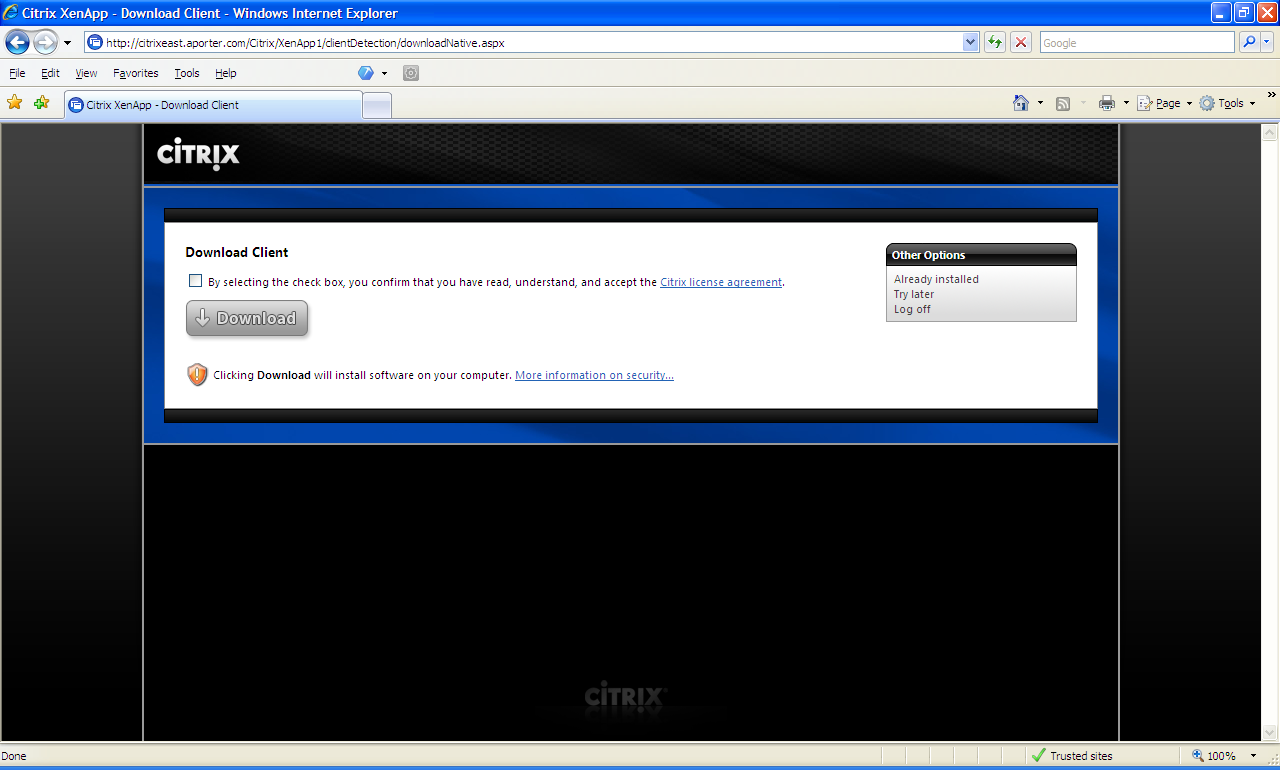 Using Citrix for the First Time - Windows OS (XP, Vista, 7) Step 2 - Sign into as shown in Logging into Citrix.