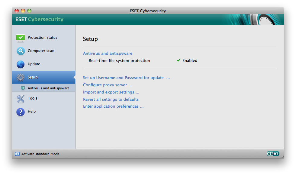 Standard mode: Knowledgebase. If you need assistance, you can contact ESET Customer Care support on the ESET website.