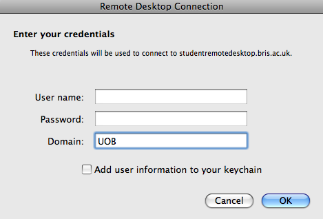 3) Enter Your UOB username and password How this will appear depends on which Operating System you use on your personal computer.