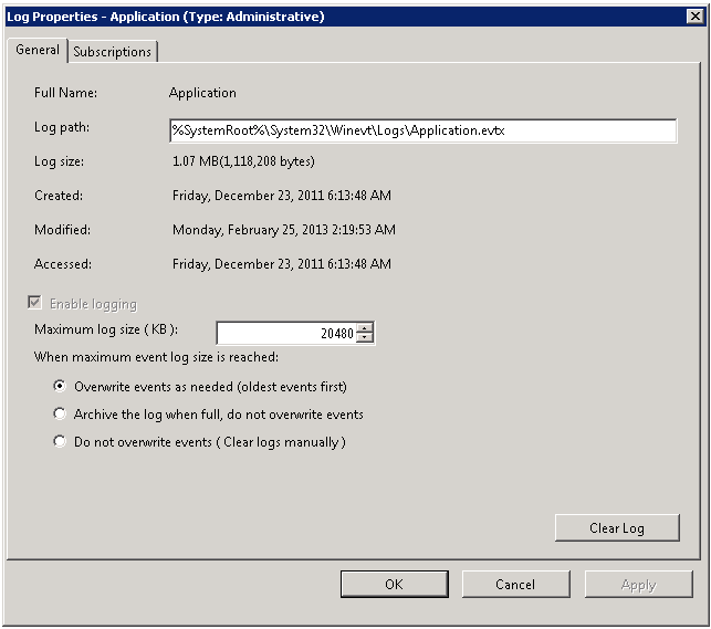 2. In the Event Viewer tree, open the Windows Logs node, right-click Application and select Properties. The Log Properties dialog opens: Figure 20: Log Properties 3.