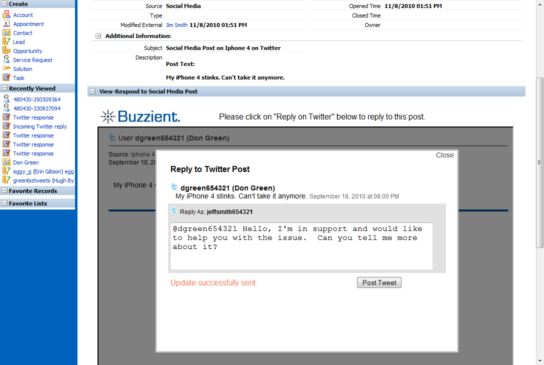 Service Request from Social Media Post 2010 Buzzient, Inc.