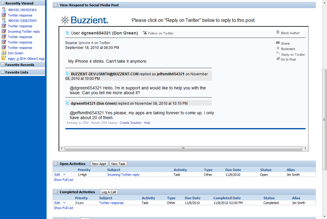 Inbound Response as a Task 2010 Buzzient, Inc.