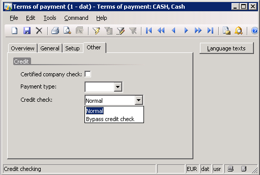 Figure 7: Terms of payment payment type A credit limit check called Credit check was added to allow you to bypass credit limits when using a credit card.