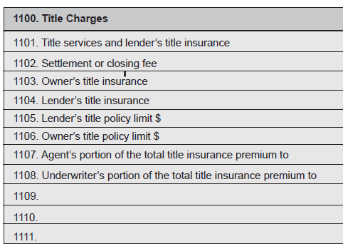 HUD-1 Page 2 (continued) Section L Settlement Charges SECTION 1100.