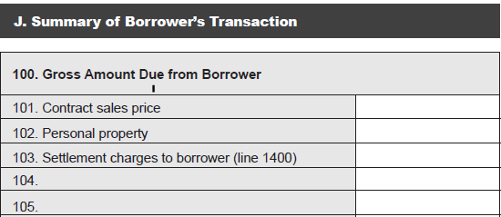 HUD-1 Page 1 (continued) Section J Summary of the Borrower s Transaction SECTION 100.