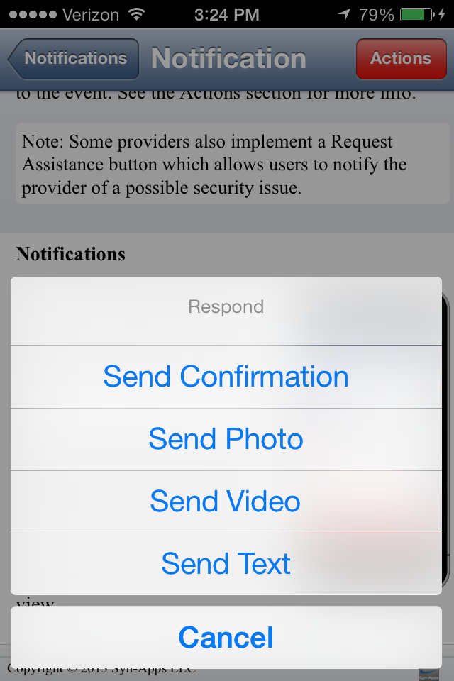 Syn-Apps Mobile for ios - End User Guide 23 Viewing a Notification The notification(s) will contain information sent from your organization.