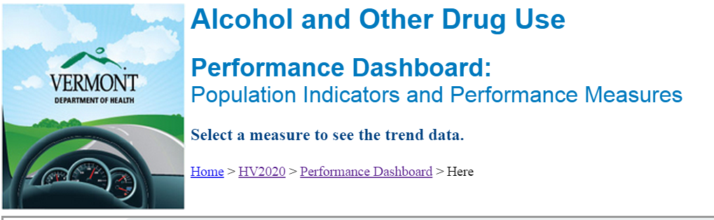 ADAP Tracks Measures on the VDH Healthy Vermonters Performance Dashboard