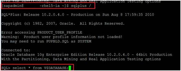 Verify that the newly created account can access SAP Oracle databases.
