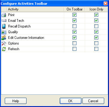 When you use ESC Version 12 for the first time, you will get the Configure Activities Toolbar prompt to remind you that you can customize the buttons that you see in the toolbar.