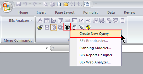 Access BEx Query Designer from the Business Explorer menu Access BEx Query