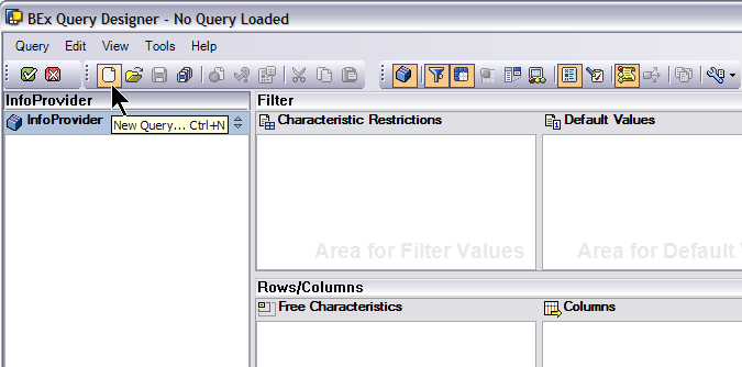 Creating a New Ad Hoc Query The example below provides an overview of options available when creating a new ad hoc query from BEx Query Designer.